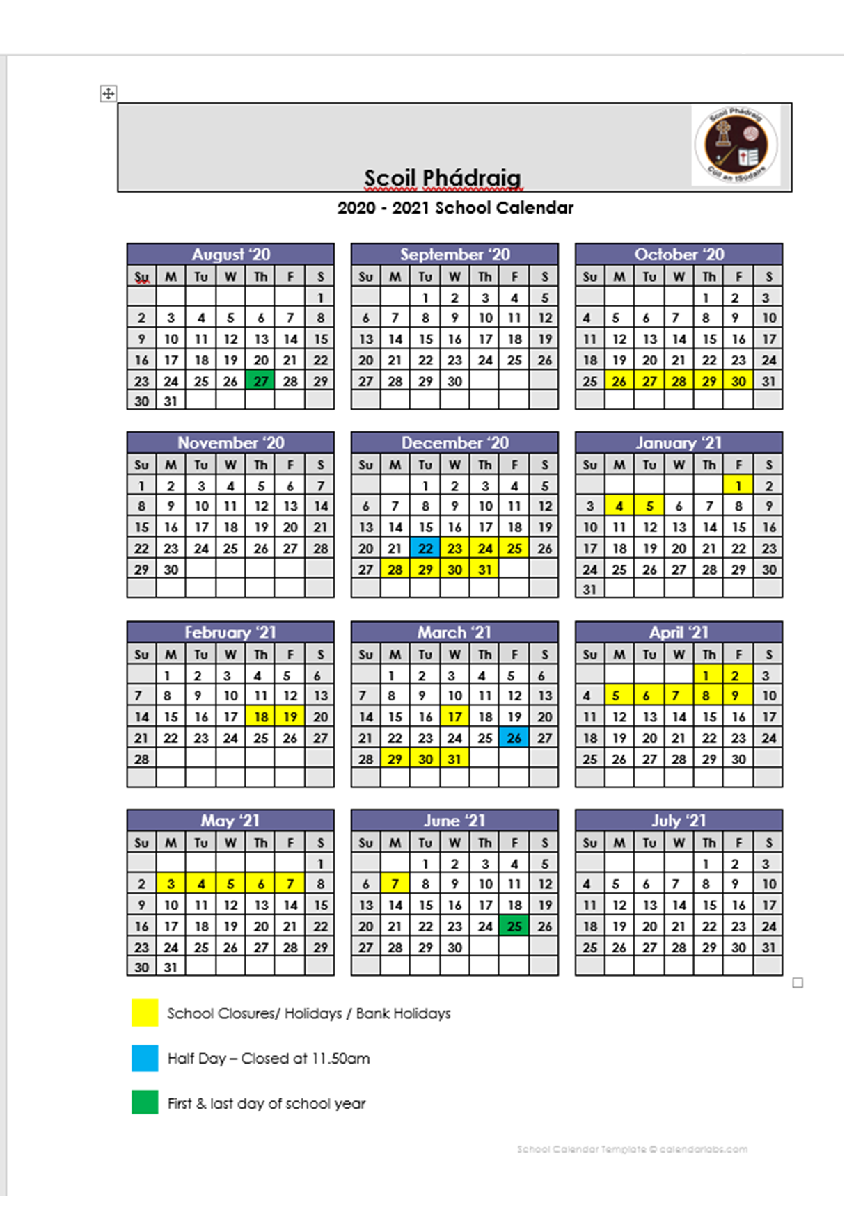 School Calendar 2020/2021 - St Patricks BNS